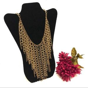 Gold Chain Fringe Statement Necklace